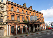 Large nineteenth century buildings, Butetown, Cardiff Bay, South Wales, UK  - Merchant Place apartments conversions