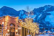 Downtown Aspen, Colorado before dawn in winter.