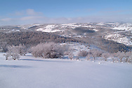 winter morning view from cabin at Lazy Rs Ranch, above Woodland, Utah