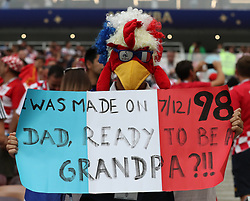 MOSCOW, July 15, 2018  A fan of France cheers prior to the 2018 FIFA World Cup final match between France and Croatia in Moscow, Russia, July 15, 2018. (Credit Image: © Cao Can/Xinhua via ZUMA Wire)