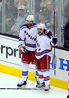 Ishockey , 07 June 2014 New York Rangers Right Wing Mats Zuccarello 36  Celebrates Scoring A Goal with team Mate New York Rangers left Wing Benoit Pouliot 67  during Game 2 of The Stanley Cup Final between The New York Rangers and The Los Angeles Kings AT Staples Center in Los Angeles Approx NHL Ice hockey men USA Jun 07 Stanley Cup Final Rangers AT Kings Game 2 <br />