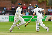 Ed Barnard of Worcestershire taking a quick single with Ben Cox of Worcestershire during the Specsavers County Champ Div 1 match between Somerset County Cricket Club and Worcestershire County Cricket Club at the Cooper Associates County Ground, Taunton, United Kingdom on 22 April 2018. Picture by Graham Hunt.