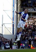 Photo: Andrew Unwin.<br />Blackburn Rovers v Middlesbrough. The Barclays Premiership. 18/03/2006.<br />Blackburn's Craig Bellamy celebrates his first goal.