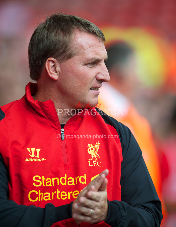 LIVERPOOL, ENGLAND - Sunday, August 12, 2012: Liverpool's manager Brendan Rodgers before a preseason friendly match against Bayer 04 Leverkusen at Anfield. (Pic by David Rawcliffe/Propaganda)