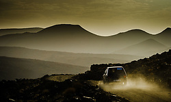Early morning mountain view from the Tizi N'Tazezert trail (piste) in southern Morocco as a car makes it's way along the trail.<br /> <br /> (c) Andrew Wilson | Edinburgh Elite media