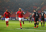 Charlton Athletic's Josh Magennis celebrates scoring the first goal during the EFL Sky Bet League 1 match between Charlton Athletic and Milton Keynes Dons at The Valley, London, England on 18 November 2017. Photo by John Marsh.