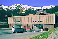 East portal of the Eisenhower-Johnson Tunnel which passes below the Continental Divide along Interstate 70.  Front Range Mountains, Colorado, USA.