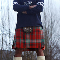Pic to go with Famous Grouse Kilt survey for St Andrew's Day....Pictured Pat McIntosh, cook at the Famous Grouse HQ in Perth takes a closer look at what Famous Grouse Company Secretary Fraser Morrison wears under his kilt...<br />For further info contact Alex Fitch on 01738 493614<br /><br />Picture by Graeme Hart.<br />Copyright Perthshire Picture Agency<br />Tel: 01738 623350  Mobile: 07990 594431