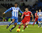 Brighton's Rohan Ince on the ball during the Sky Bet Championship match between Brighton and Hove Albion and Nottingham Forest at the American Express Community Stadium, Brighton and Hove, England on 7 February 2015. Photo by Phil Duncan.