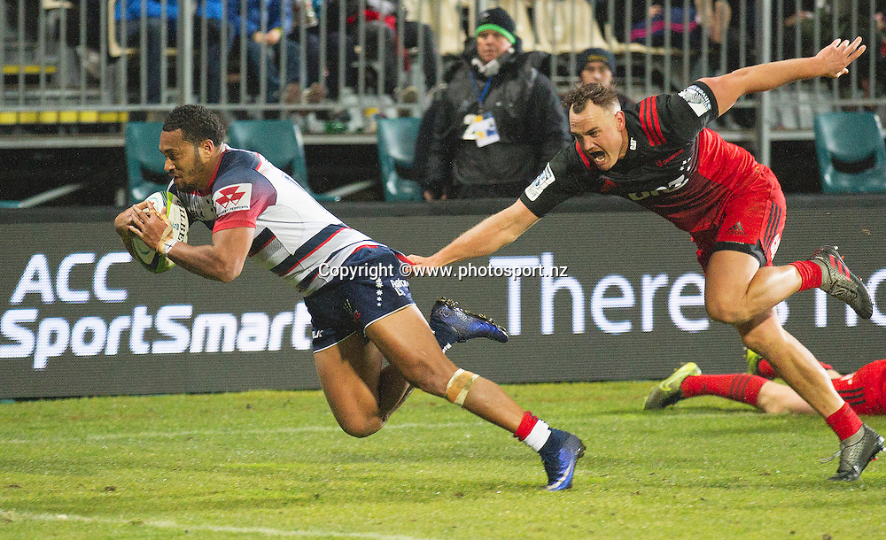 Sefa Naivalu of the Rebels celebrates scoring a try during the Investec Super Rugby game, BNZ Crusaders v Rebels at AMI Stadium, Christchurch. 09 June 2016 Photo: Joseph Johnson / www.photosport.nz