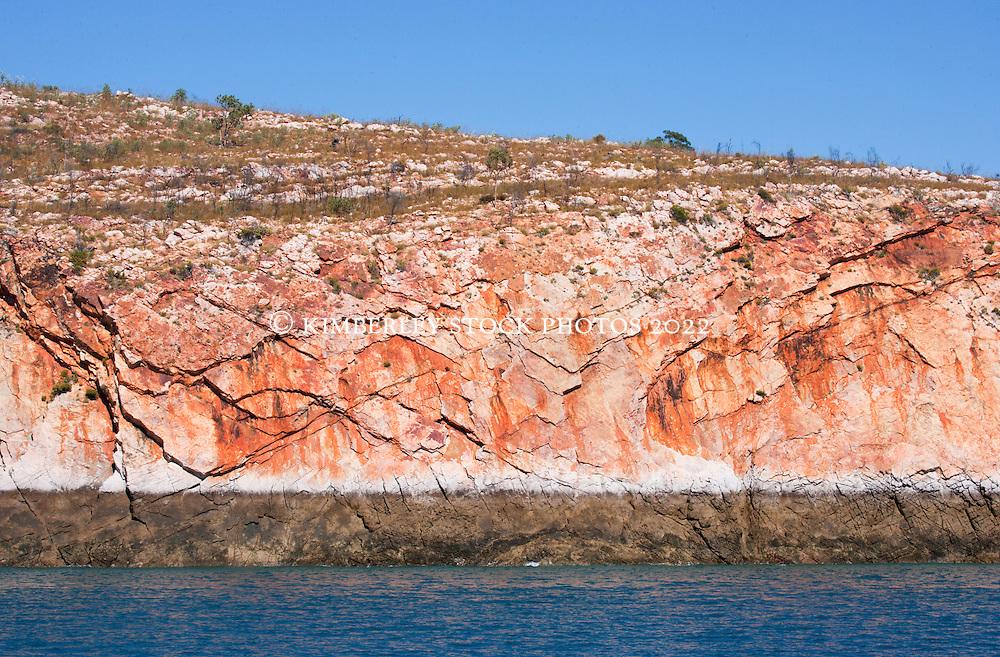 Vibrant colours on a rockface near the Traverse Island Group.