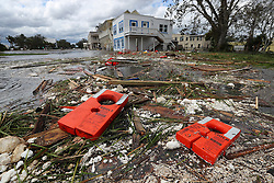 Life jackets for a adult and a child from the remains of the old Cumberland Queen Ferry, which sank, are part of the debris littering the flooded main street after Hurricane Irma swept through the area on Monday, September 11, 2017, in St. Marys, GA, USA. Numerous boats were destroyed after the towns docks were torn apart by the storm. Photo by Curtis Compton/Atlanta Journal-Constitution/TNS/ABACAPRESS.COM