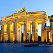 Panorama of evening view of the Brandenburg Gate, one of Europe's and the world's most recognizable and historic landmarks.