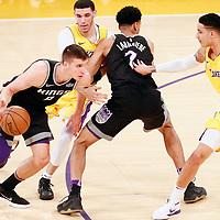 09 January 2018: Sacramento Kings guard Bogdan Bogdanovic (8) drives past Los Angeles Lakers guard Lonzo Ball (2) on a screen set by Sacramento Kings forward Skal Labissiere (7) during the LA Lakers 99-86 victory over the Sacramento Kings, at the Staples Center, Los Angeles, California, USA.