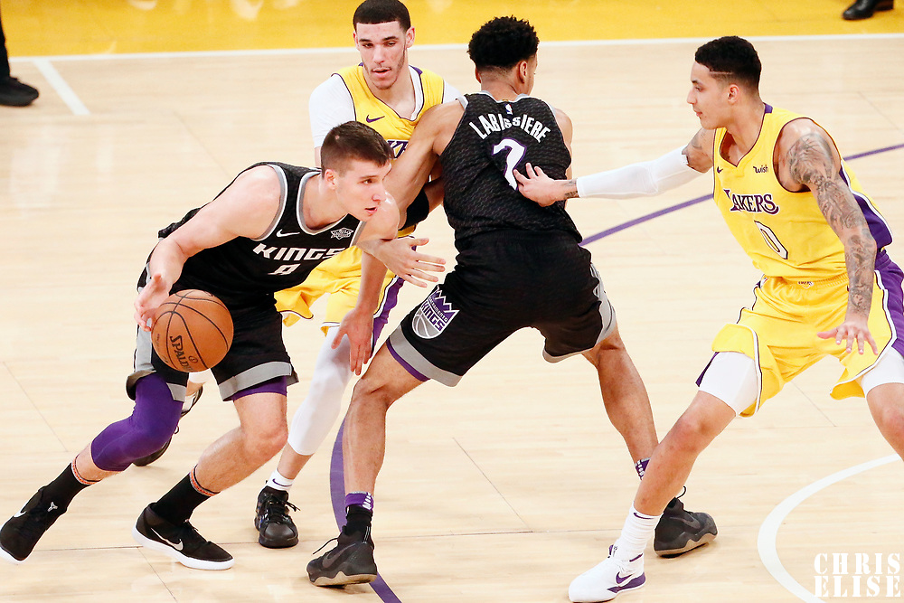 09 January 2018: Sacramento Kings guard Bogdan Bogdanovic (8) drives past Los Angeles Lakers guard Lonzo Ball (2) on a screen set by Sacramento Kings forward Skal Labissiere (7) during the LA Lakers 99-86 victory over the Sacramento Kings, at the Staples Center, Los Angeles, California, USA.