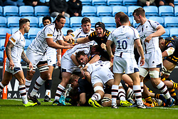 Tom Cruse of Wasps scores a try - Mandatory by-line: Robbie Stephenson/JMP - 12/10/2019 - RUGBY - Ricoh Arena - Coventry, England - Wasps v Worcester Warriors - Premiership Rugby Cup