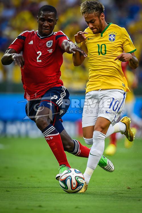 Neymar Júnior em lance de Brasil x Colombia, válida pelas quartas de final da Copa do Mundo 2014, no Estádio Castelão, em Fortaleza-CE. FOTO: Jefferson Bernardes/ Agência Preview