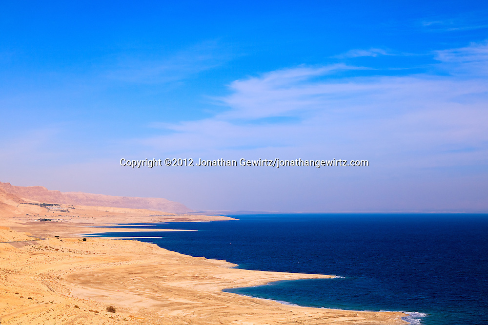 Rocky beaches on the northern Dead Sea coast, Israel. WATERMARKS WILL NOT APPEAR ON PRINTS OR LICENSED IMAGES.