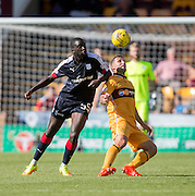 Dundee's Kevin Gomis and Motherwell's Scott McDonald - Motherwell v Dundee in the Ladbrokes Scottish Premiership at Fir Park, Motherwell. Photo: David Young<br />