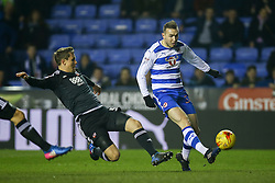 Jordon Mutch of Reading shoots at goal, under pressure from Andreas Bjelland of Brentford - Mandatory by-line: Jason Brown/JMP - 14/02/2017 - FOOTBALL - Madejski Stadium - Reading, England - Reading v Brentford - Sky Bet Championship