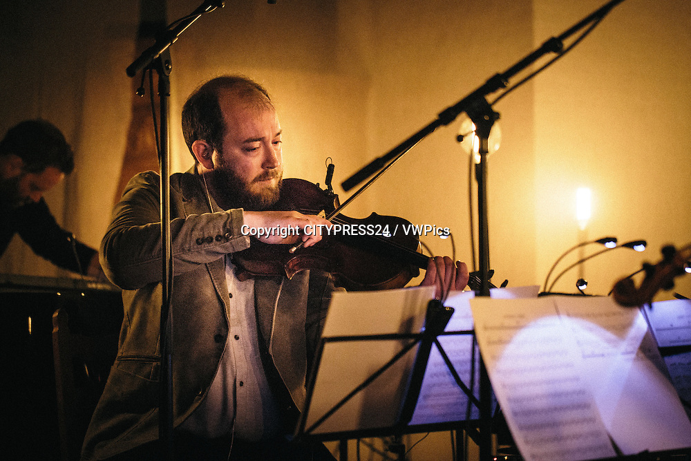 The Belgian music ensemble The Ecco Collective performs a live concert with the duo A Winged Victory for the Sullen at Koncertkirken in Copenhagen as part of the Danish music festival Frost Festival 2015. Denmark, 21/02 2015.