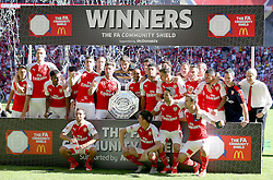 The Arsenal team celebrate after the win the Community Shield match - Mandatory byline: Paul Terry/JMP - 07966386802 - 02/08/2015 - Football - Wembley Stadium -London,England - Arsenal v Chelsea - FA Community Shield