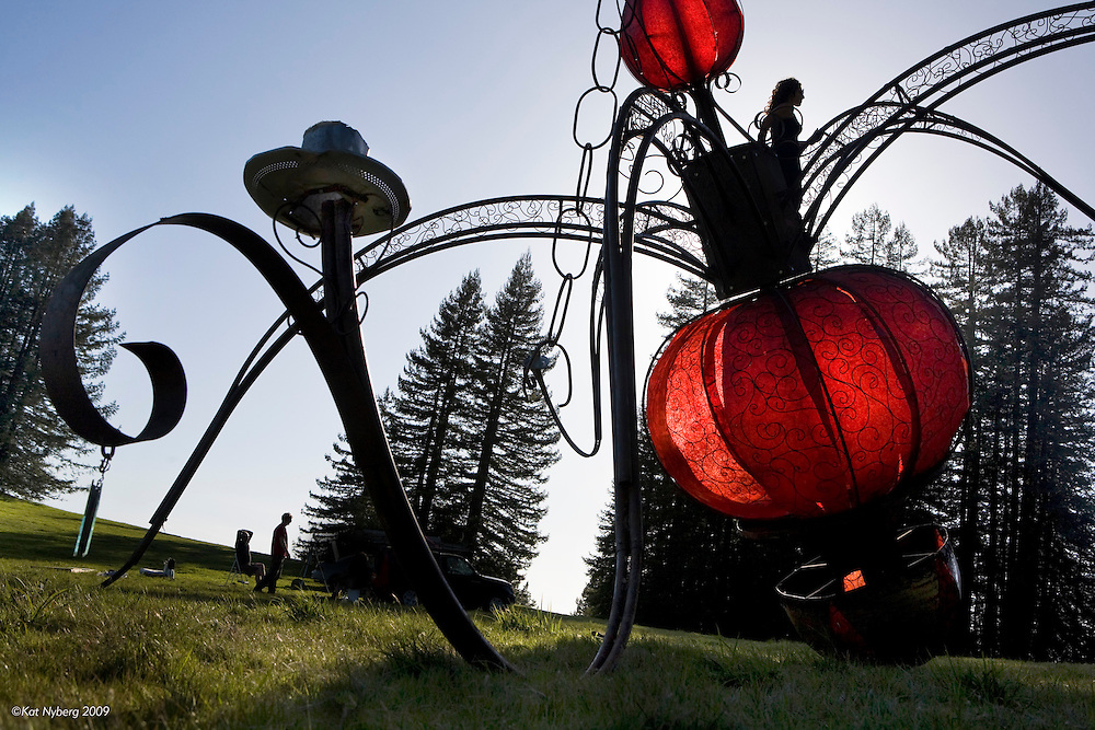 "Sculptor, Rosanna Scimeca, installs ""Cleavage In Space,"" on a 60 acre private estate in Occidental, CA."