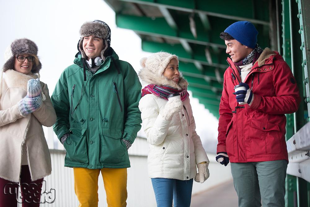 Multiethnic friends in winter wear conversing outdoors