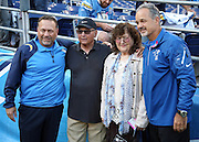 (L-R) San Diego Chargers defensive coordinator John Pagano, father Sam Pagano, mother Diana Pagano, and brother and Indianapolis Colts head coach Chuck Pagano pose for a pregame photo before the NFL week 6 football game against the Indianapolis Colts on Monday, Oct. 14, 2013 in San Diego. The Chargers won the game 19-9. ©Paul Anthony Spinelli