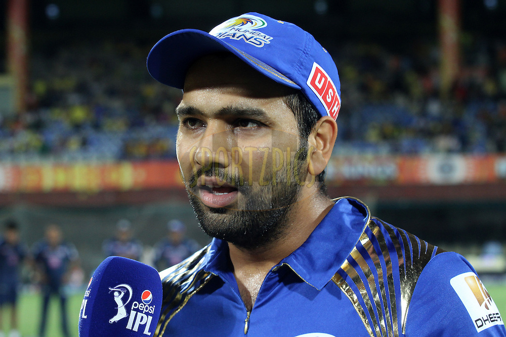 Mumbai Indians captain Rohit Sharma during match 43 of the Pepsi IPL 2015 (Indian Premier League) between The Chennai Super Kings and The Mumbai Indians held at the M. A. Chidambaram Stadium, Chennai Stadium in Chennai, India on the 8th May April 2015.<br /> <br /> Photo by:  Shaun Roy / SPORTZPICS / IPL
