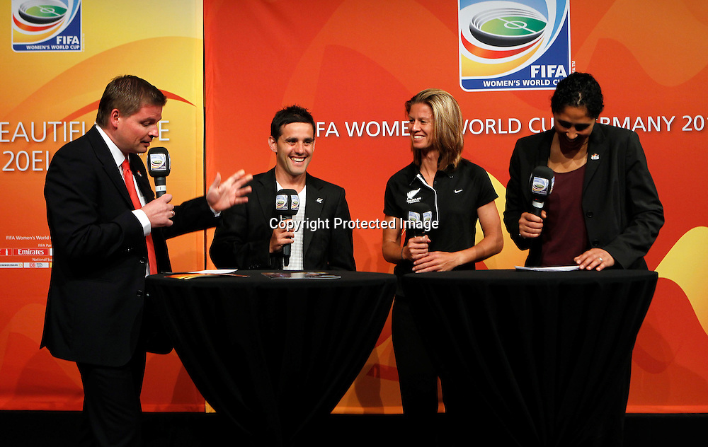 Left to right Jens Grittner, John Herman, Maia Jackman and Steffi Jones. FIFA Women's World Cup 2011 Official Countdown, Crowne Plaza Hotel, Auckland, Friday 10th December 2010. Photo: Shane Wenzlick