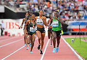 Francine Niyonsaba (BDI) defeats Ajee Wilson (USA) and Habitam Alemu (ETH) to win the women's 800m in 1;57.80 during the 2018 Athletissima in an IAAF Diamond League meeting at Stade Olympique de la Pontaise in Lausanne, Switzerland on Thursday, July 5, 2018. Wilson was second in 1:58.20 and Alemu was third in 1:58.38. (Jiro Mochizuki/Image of Sport)