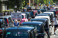 30 June 2015 - London Cabbies stage roadblock protest in South London.