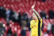Scot Bennett of Newport County acknowledges the visiting fans during the The FA Cup fourth round replay match between Tottenham Hotspur and Newport County at Wembley Stadium, London, England on 6 February 2018. Picture by Toyin Oshodi.