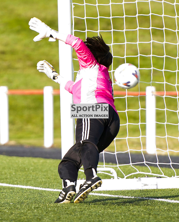 HIBERNIAN GLASGOW CITY Women's Premier League 14 October 2012.Shannon Lynn cannot prevent the first penalty going in. Second placed Hibs welcomed champions Glasgow City to Albyn Park, Broxburn. 14 October 2012. (c) Ger Harley | StockPix.eu