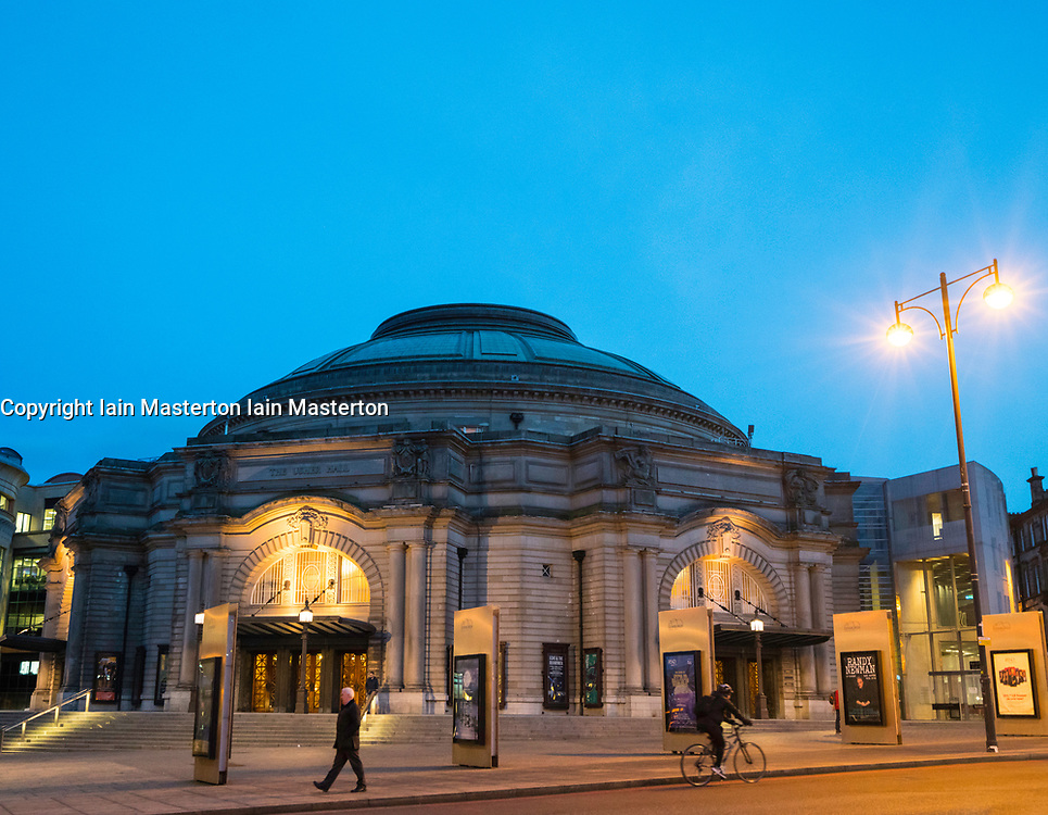 Night view of exterior of Usher Hall theatre in Edinburgh, Scotland, United Kingdom