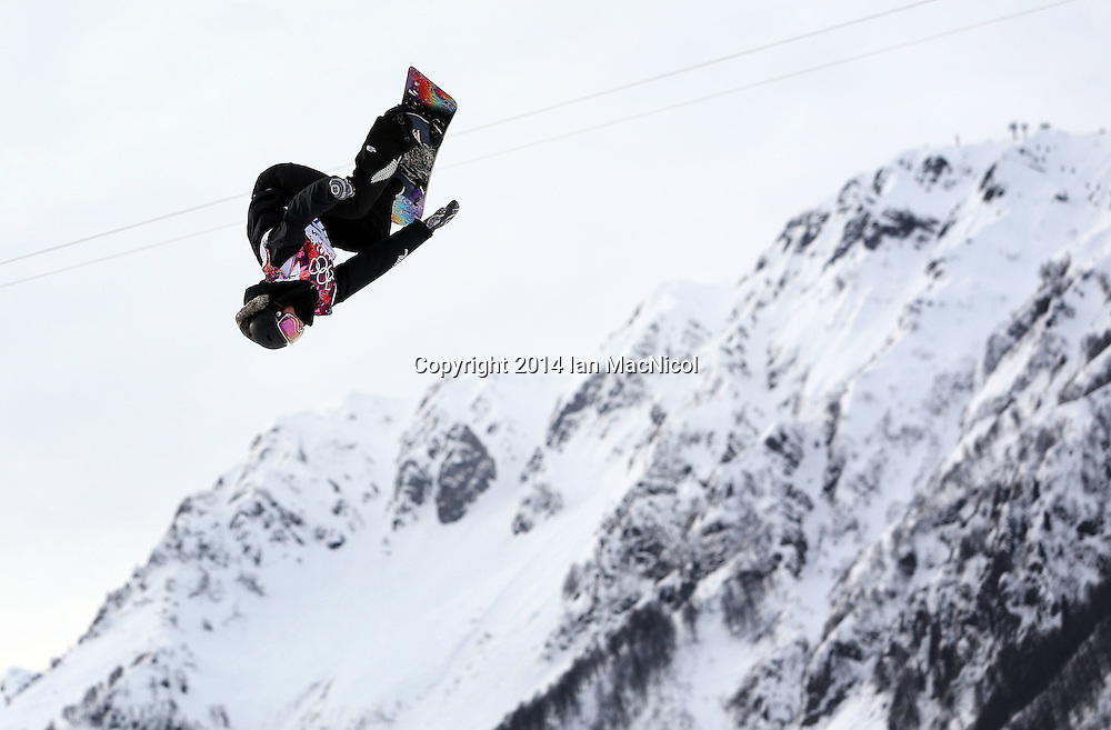 SOCHI, RUSSIA - FEBRUARY 09:  Shelly Gotlieb of New Zealand competes during the Snowboard Women's Slopestyle Semi finals during day 2 of the Sochi 2014 Winter Olympics at Rosa Khutor Extreme Park on February 9, 2014 in Sochi, Russia. Photo: Ian MacNicol/www.photosport.co.nz