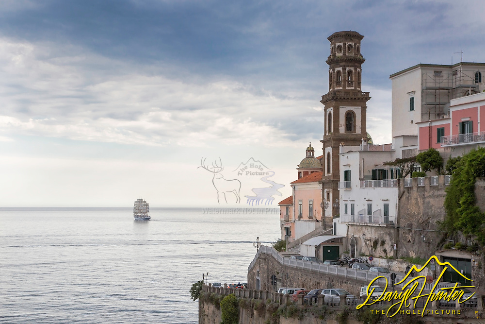 """Atrani Italy as a the five masted schooner, the Royal Clipper"""" sets sail from this port antiquity.   Atrani is a village on the Amalfi Coast."""