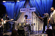 """New York, NY- December 5:  Questlove & Brass Heaven performs at """" ?uestlove  eats…in Concert: A Night of Food and Music """" produced by Jill Newman Productions held at the Blue Note on December 5, 2011 in New York City. (Photo by Terrence Jennings/PictureGroup)"""