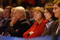 12 JAN 2003, BRAUNSCHWEIG/GERMANY:<br /> Edmund Stoiber (Mi-L), CSU, Ministerpraesident Bayern, Angela Merkel (Mi-R), CDU Bundesvorsitzende, Wahlkampfauftakt der CDU Niedersachsen zur Landtagswahl, Volkswagenhalle<br /> IMAGE: 20030112-01-006<br /> KEYWORDS: Ministerpr&auml;sident