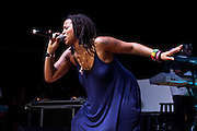 Natalie Stewart of the group Floetry performs during Summer Spirit Festival 2015 at Merriweather Post Pavilion in Columbia, MD on Saturday, August 8, 2015.