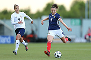 Caroline Weir (#9) of Scotland shoots from distance during the FIFA Women's World Cup UEFA Qualifier match between Scotland Women and Belarus Women at Falkirk Stadium, Falkirk, Scotland on 7 June 2018. Picture by Craig Doyle.