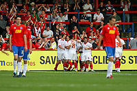 Football - League Two - Aldershot Town vs. Crawley Town<br /> John Akinde of Crawley Town  celebrates with teammates after scoring against Aldershot at the EBB Stadium