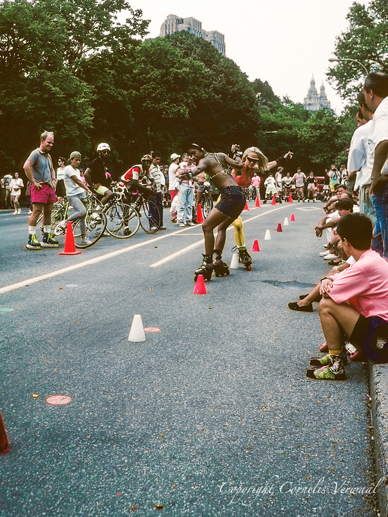 Roller slalom in Central Park, New York City, 1991