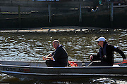 London, UK,  2014 Varsity, Annual Tideway Week. CUBC, Cambridge University Boat Club, Roger STEPHENS, Chairman (left), with Steve TRAPMORE, Chief Coach (right), in coaching launch. 09:37:00  Tuesday  01/04/2014  : [Mandatory Credit Intersport Images]