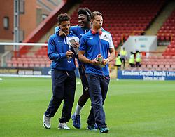 Debutant Tyler Lyttle of Bristol Rovers with Ellis Harrison and Billy Bodin - Mandatory byline: Neil Brookman/JMP - 07966386802 - 29/08/2015 - FOOTBALL - Matchroom Stadium -Leyton,England - Leyton Orient v Bristol Rovers - Sky Bet League Two