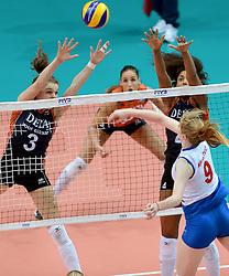 01-10-2014 ITA: World Championship Volleyball Servie - Nederland, Verona<br /> Nederland verliest met 3-0 van Servie en is kansloos voor plaatsing final 6 / Yvon Beliën, Celeste Plak, Brankica Mihajlovic