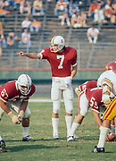 COLLEGE FOOTBALL: Stanford v USC, November 6, 1976 at Stanford Stadium in Palo Alto, California.  Guy Benjamin #7, Alex Karakazoff #67.