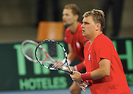 BNP Paribas Davis Cup 2013.Mariusz Fyrstenberg & Marcin Matkowski both from Poland compete at men's double game during the BNP Paribas Davis Cup 2013 between Poland and Slovenia at Hala Stulecia in Wroclaw on Ferbruary 2nd , 2013..Photo by: Piotr Hawalej