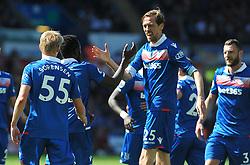 Peter Crouch of Stoke City celebrates his goal after making it 1-2 - Mandatory by-line: Nizaam Jones/JMP- 13/05/2018 - FOOTBALL - Liberty Stadium - Swansea, Wales - Swansea City v Stoke City - Premier League